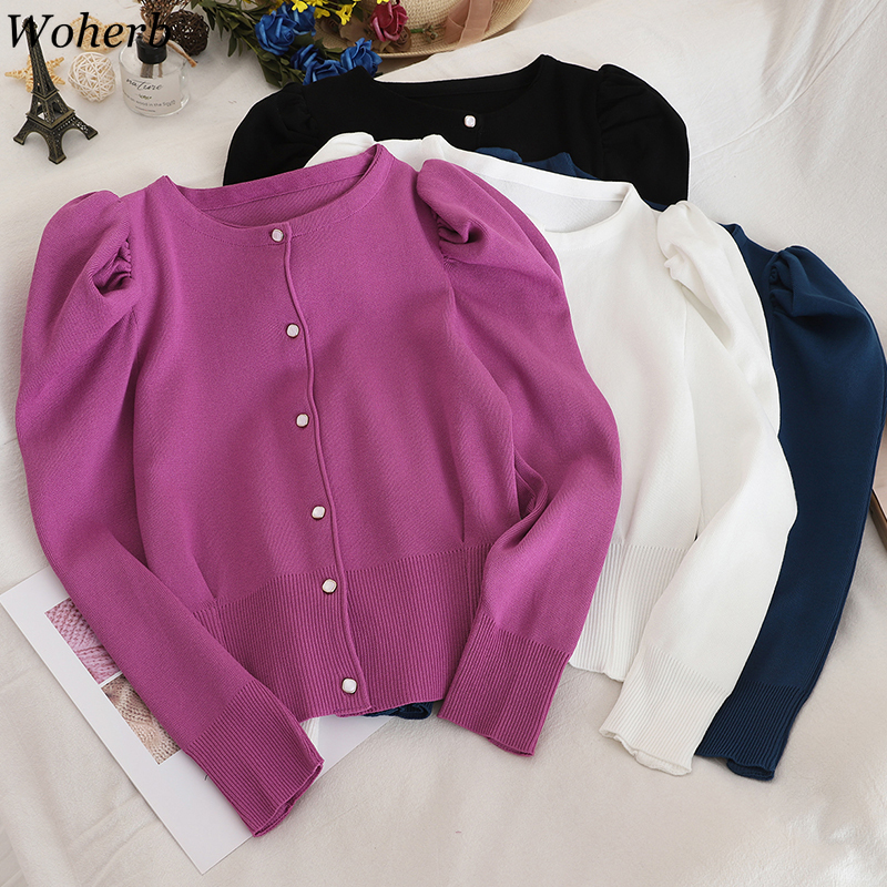 Woherb New Arrival Elegant Sweater Women Solid Color Single Breasted Short Cardigans Korean Fashion New Knitwear Tops 91149