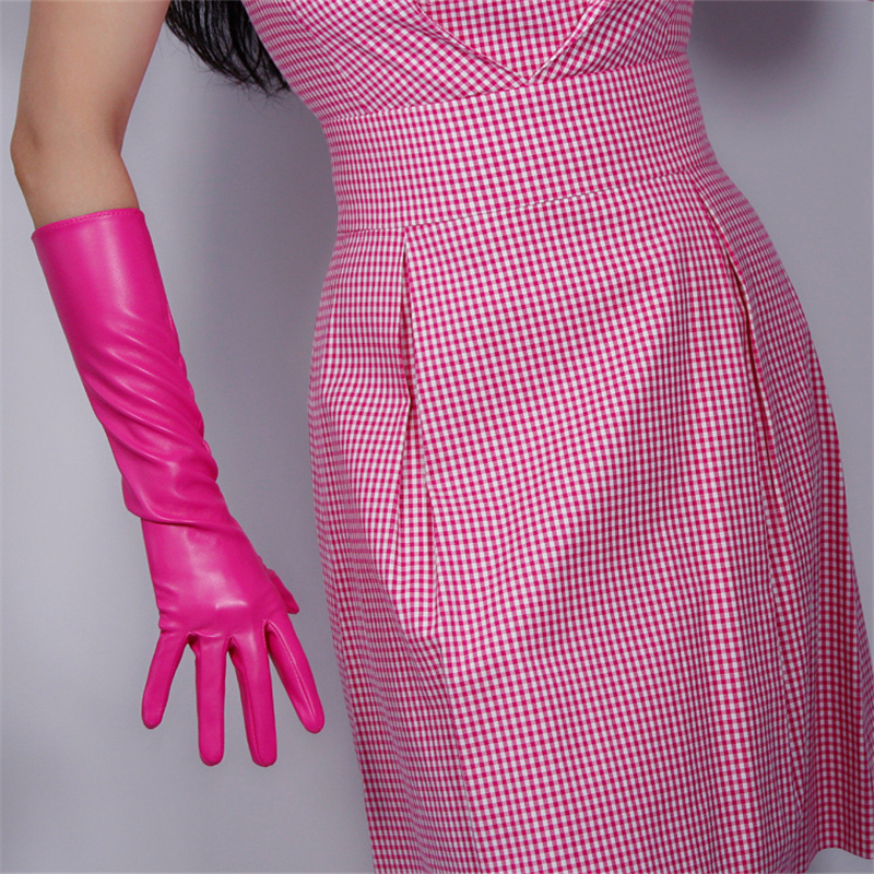 Women'S Long Section Leather Gloves 40cm Simulation Leather Imitation Sheepskin PU Rose Red Deep Pink PUMH40