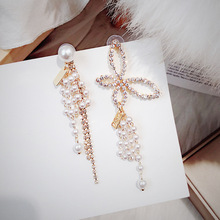 European and American Exaggerated  Butterfly Earrings Female Korean Temperament Asymmetrical Pearl Long Tassel