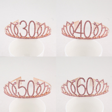 Тиара на день рождения с 30 го, 40 го, 50 го, 60 го, 70 го, розового цвета, с кристаллами и стразами