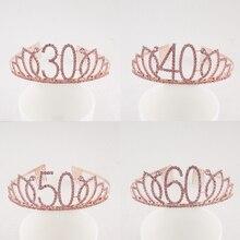 Glücklich 30th 40th 50th 60th 70th Rosa Geburtstag Tiara Crown Kristall Strass für Geburtstag Party Supplies