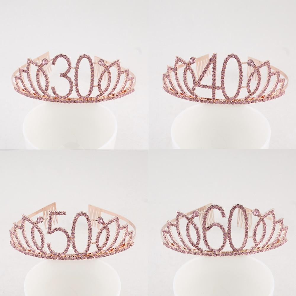 Тиара на день рождения с 30-го, 40-го, 50-го, 60-го, 70-го, розового цвета, с кристаллами и стразами