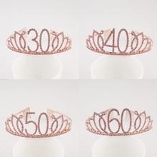 Happy 30th 40th 50th 60th 70th Pink Birthday Tiara Crown Crystal Rhinestone for Birthday Party Supplies