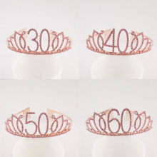Happy 30th 40th 50th 60th 70th Pink Birthday Tiara Crown Crystal Rhinestone for Birthday Party Supplies(China)