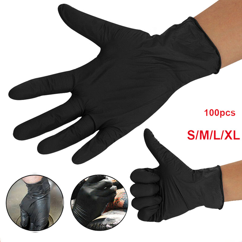 100 Pcs Disposable Gloves Latex Guantes Desechables Nitrile Gloves Black/Transparent/Blue Guantes De Latex Desechable Caja 100