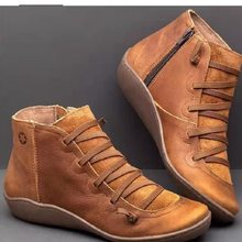PU leather ankle boots for women autumn winter cross strappy vintage punk martin boots platform flat ladies shoes botas mujer(China)