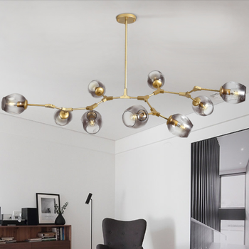 Modern Led Chandeliers Glass Ball Gold Hanging Lamps Fixture Luminaire Kitchen Dining Room Living Decor Indoor Suspension Lights