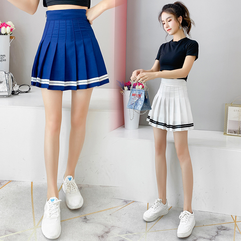 2019 New Style Spring And Summer Hipster Versatile Anti-Exposure Skirt Short Skirt A- Line Skirt Women's High-waisted College St