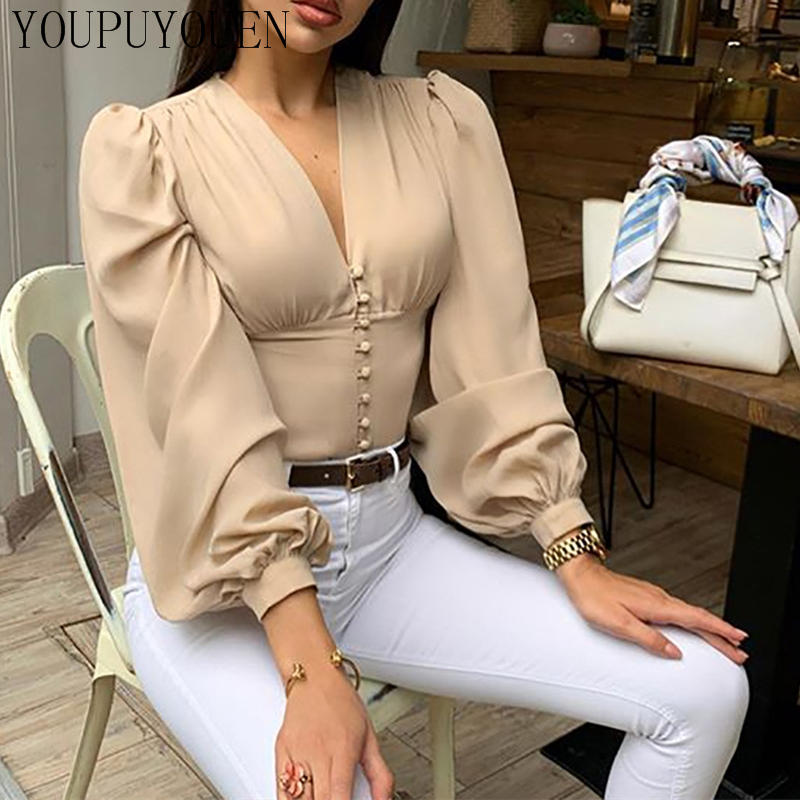 Ladies Elegant Blouse Lantern Long Sleeve Tops 2020 Summer V Neck Crop Top Fashion Shirts Women Button Down Blouses New Clothing