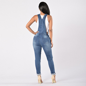 2019 New Spring Women Overalls Cool Denim Jumpsuit Ripped Holes Casual Jeans Sleeveless Jumpsuits Hollow Out Rompers 2XL 3