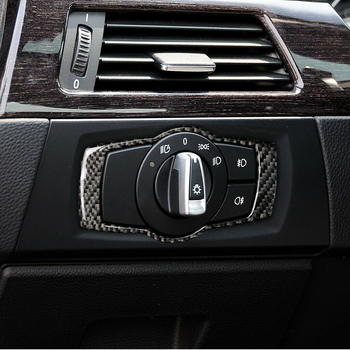 Carbon Fiber Car-Styling Car Headlight Switch Button Cover Trim Frame Sticker For BMW 3 Series E90 E92 E93 2005-12 image
