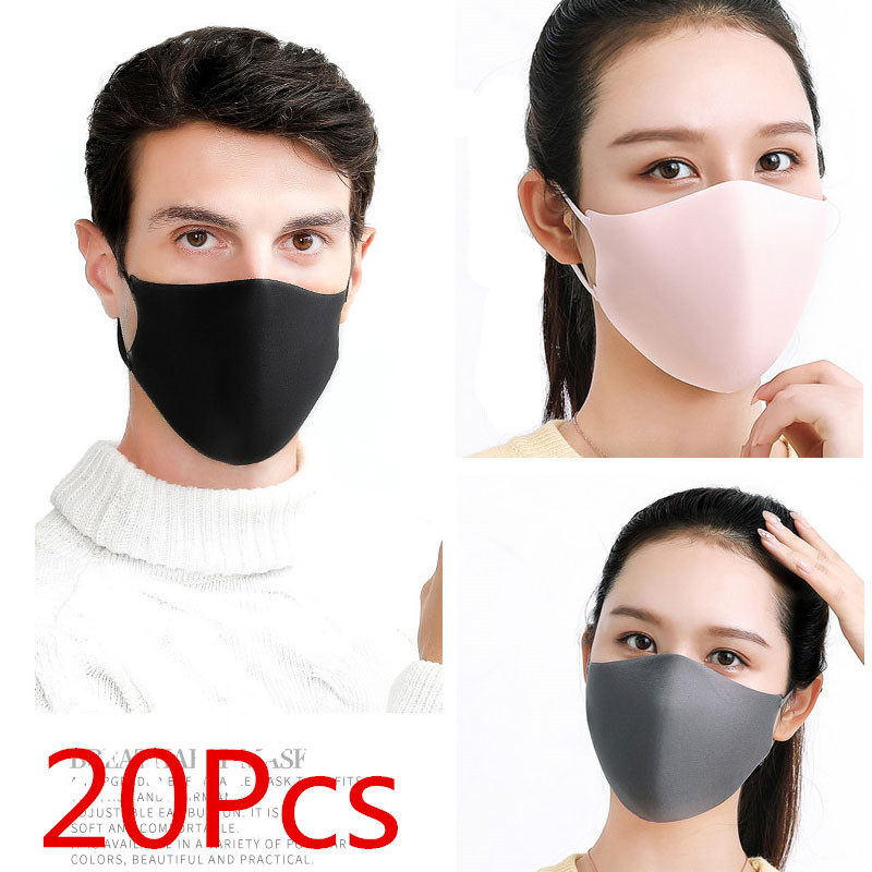 PVP 20Pcs Black Bilayer Sponge Mouth Mask Anti Haze Dust Washable Reusable Double Layer Dustproof Mouth-muffle Wind Proof Mask