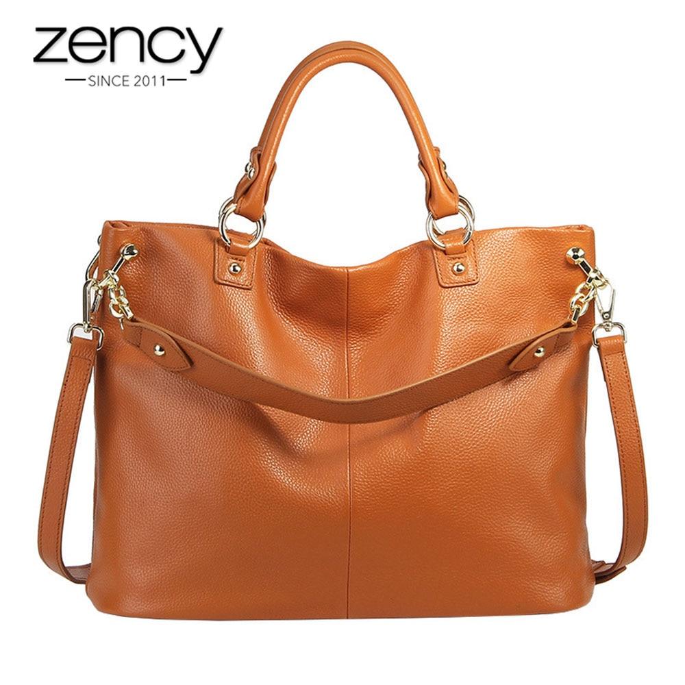 Zency 100% หนังวัวแท้สีเทากระเป๋าถือสีน้ำตาลผู้หญิง Casual Tote ขนาดใหญ่ Lady Crossbody Messenger สีดำ Hobos กระเป๋า-ใน กระเป๋าหูหิ้วด้านบน จาก สัมภาระและกระเป๋า บน   1
