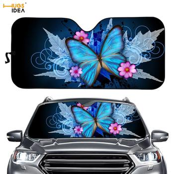 Gloss Blue Butterfly Print Car Sunshade for Front Windows Cool Swirl Insect Windshield Sun Shade for SUV Keep Auto/Vehicle Cool