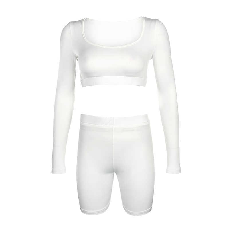 Conjunto de dos piezas de color liso Sweetown, conjunto de Top corto y pantalones cortos ajustados de manga larga para mujer, Sexy traje de pista de verano