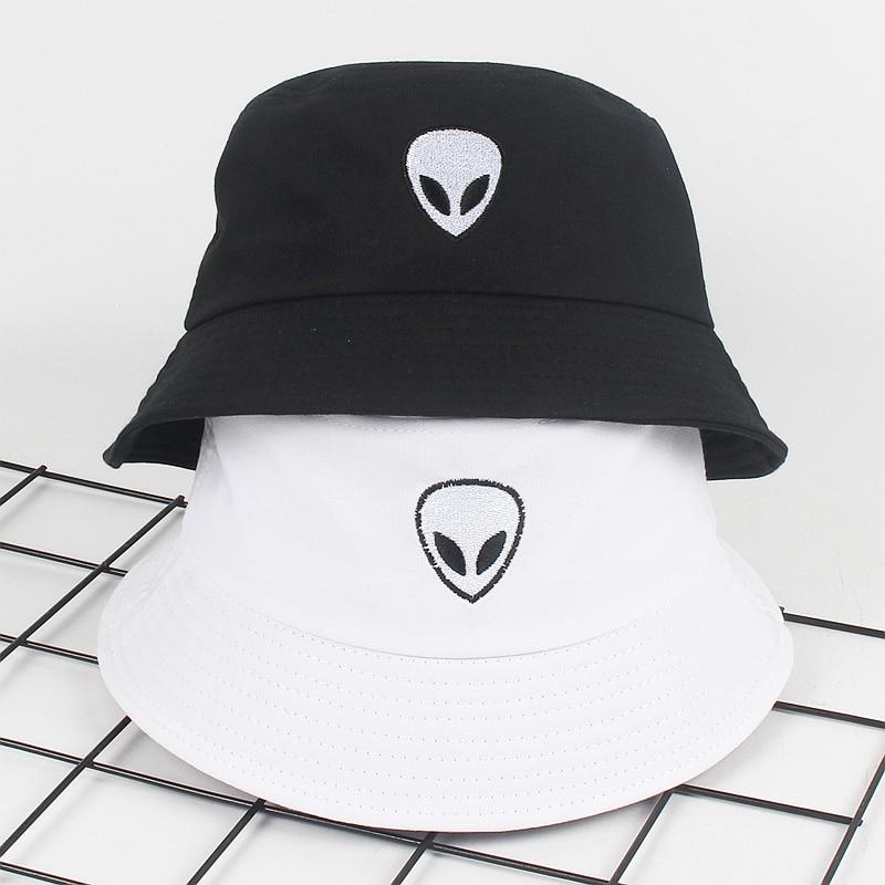 Unisex Embroidery Alien Foldable Bucket Hat Summer Beach Sun Hat Streetwear Fisherman Hat Outdoor Bucket Cap Men Women Hat