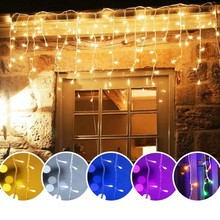5M Christmas Garland LED Curtain Icicle String Lights Droop 0.4-0.6m AC 220V Garden Street Outdoor Decorative Holiday Light