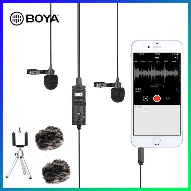 BOYA BY M1DM Lavalier מיקרופון 4m omni directional קליפ על דש וידאו מיקרופון עבור iPhone Canon ניקון DSLR, מעודכן של BY M1