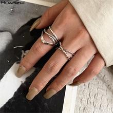 HUANZHI 2020 nuevos multicapa Cruz plata plateada del Tíbet anillos de Metal Retro hueco minimalista anillo para las mujeres de la joyería de los hombres