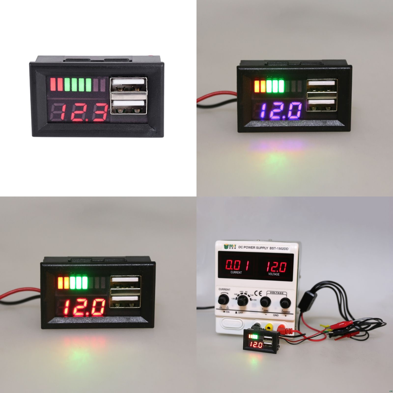 LED Digital Display Voltmeter Mini Voltage Meter Battery Tester Panel For DC 12V Cars Motorcycles Vehicles USB 5V2A Output