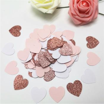 100pcs Glittler Rose Gold 3cm Heart Paper Confetti Wedding Card Paper Confettis Birthday Party Supplies Baby Shower Decor 1000pc girl hot pink white silk rose petals baby shower christening confetti wedding party table scatters confettis decoration