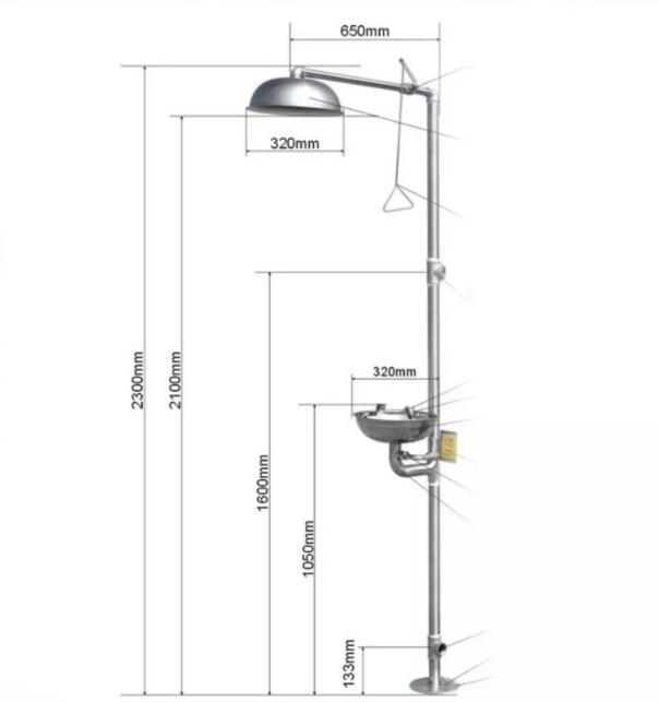 304 Stainless Steel Composite Emergency Shower Eyewash Vertical Shower Set , Compound Emergency Double Eye Washer