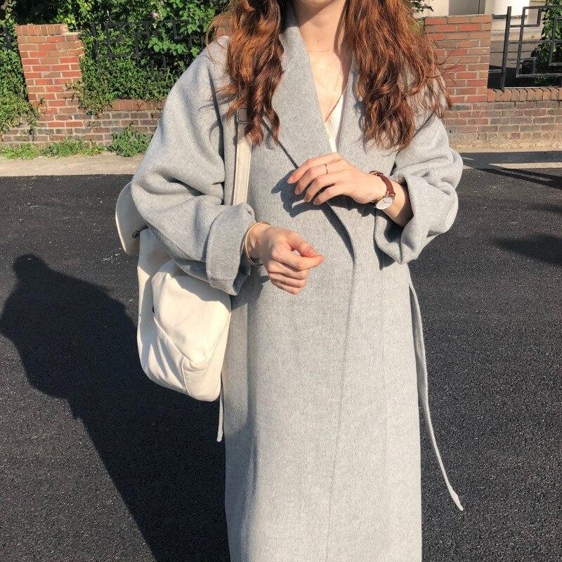 19 Winter Oversize Long Trench Coat Women Cashmere Coat Korean Lady Windbreaker Outwear Streetwear 49