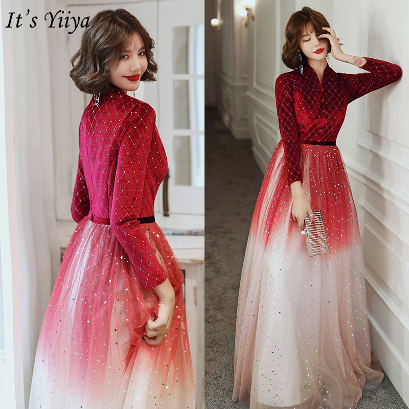 It's Yiiya Evening Dress Elegant Burgundy Gradient Evening Dresses V-neck Plus Size Formal Gowns Long Robe De Soiree LF175