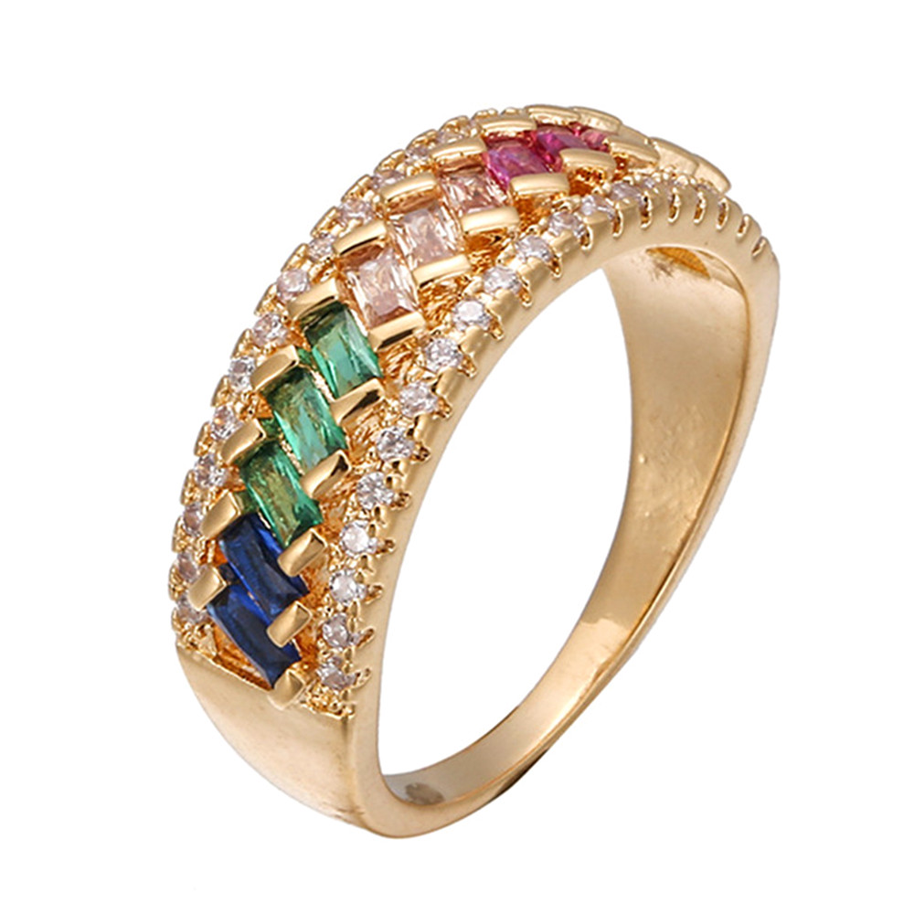 18k gold color multicolor gemstones crystal Rings for women rainbow diamonds white gold color indian Dubai fashion jewelry