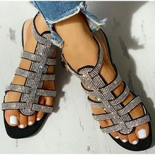 new women sandals shoes rhinestones hollow out flat summer