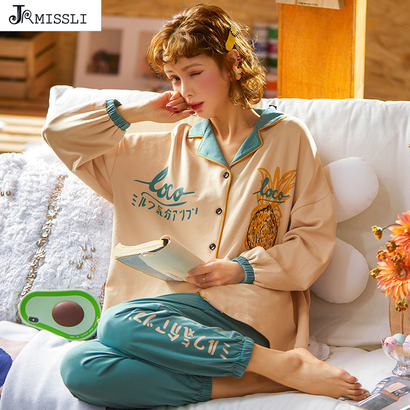 JRMISSLI Women Spring New Cotton Pinapple Korean Style Long Sleeves Pants Cardigan Pyjamas Women Pajama Set Lady Home Clothes