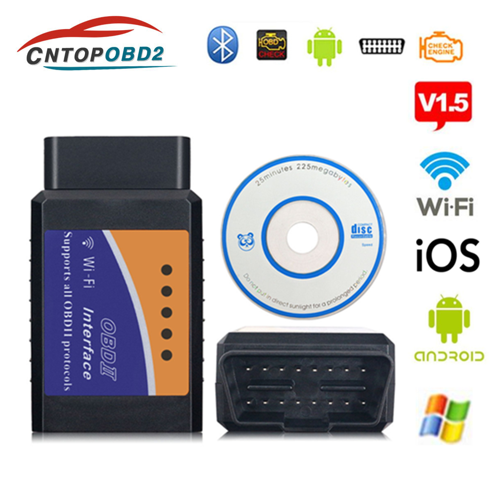 Latest Wifi ELM327 V1.5 OBD2 Scanner <font><b>Bluetooth</b></font> <font><b>ELM</b></font> <font><b>327</b></font> V1.5 Car Diagnostic Tool OBDII <font><b>elm</b></font> <font><b>327</b></font> Code Reader For Android/IOS/PC image