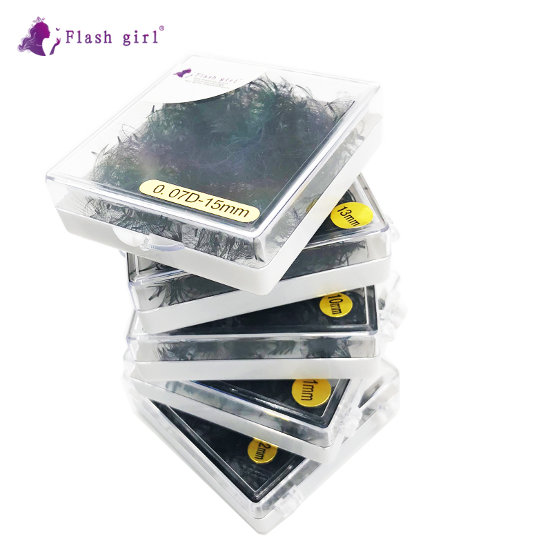 Flash Girl Makeup Short Stem Premade Fans 1000 Fans In One Box 0.07 D Private Label Russia Volume Lashes Bulk Lashes