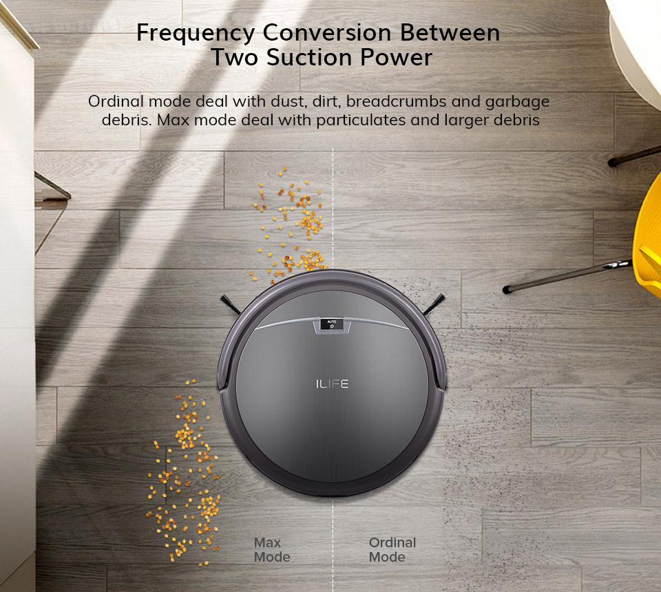 ILIFE A4s Robot Vacuum Cleaner Powerful Suction for Thin Carpet & Hard Floor Large Dustbin Miniroom Function Automatic Recharge