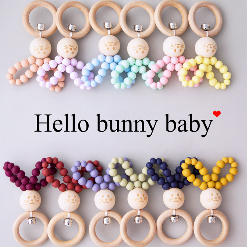 1pc Baby Rattle Bunny Toy Silicone Beads DIY Children Toy Rabbit Teether BPA Free Cartoon Baby Toys 0-12 Months Birthdays Gift