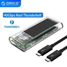 ORICO Thunderbolt 3 40Gbps M.2 NVME SSD Gehäuse 2TB Transparent USB C SSD Fall mit 40Gbps C zu C Kabel Für Mac Windows