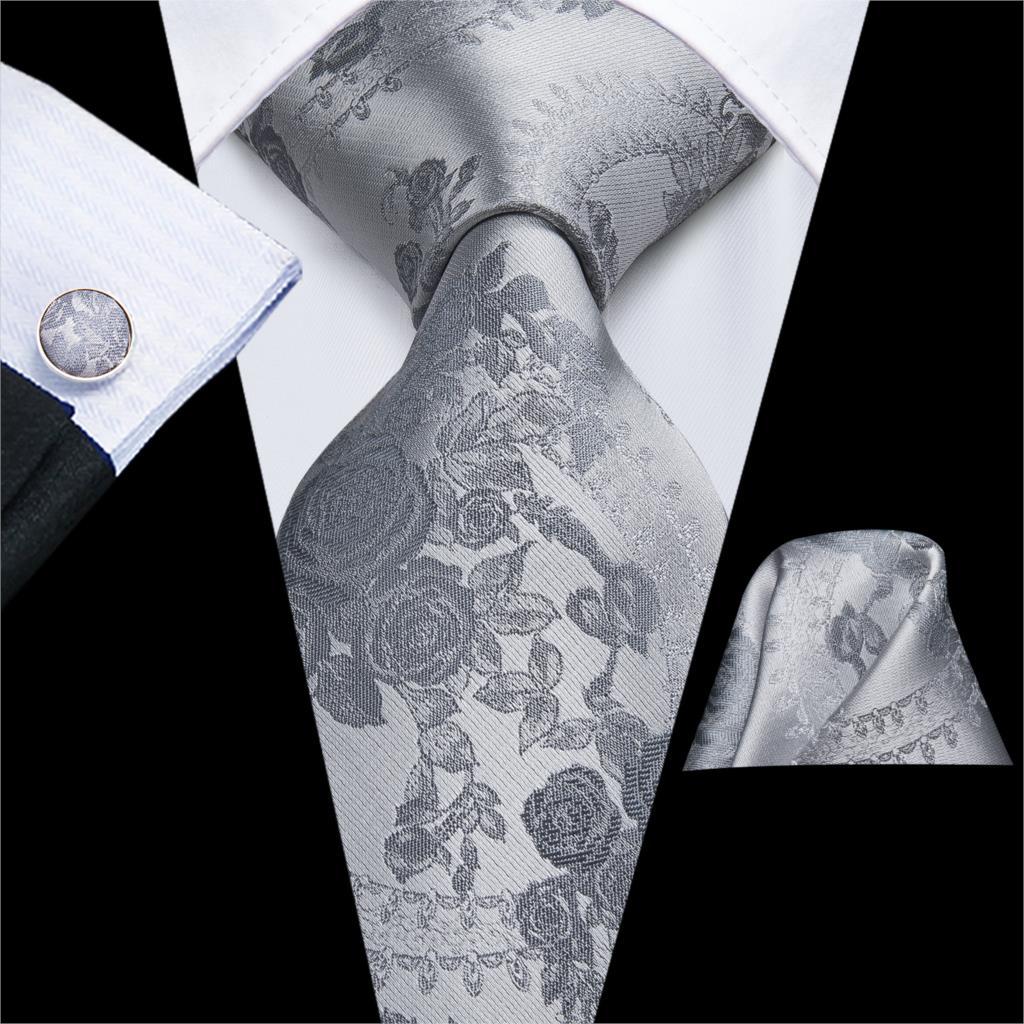 Hi-Tie Grey Floral Mens Tie 8.5cm Black Plaid Silk Wedding Tie For Men Design Hanky Cufflink Quality Men Tie Set Dropshipping