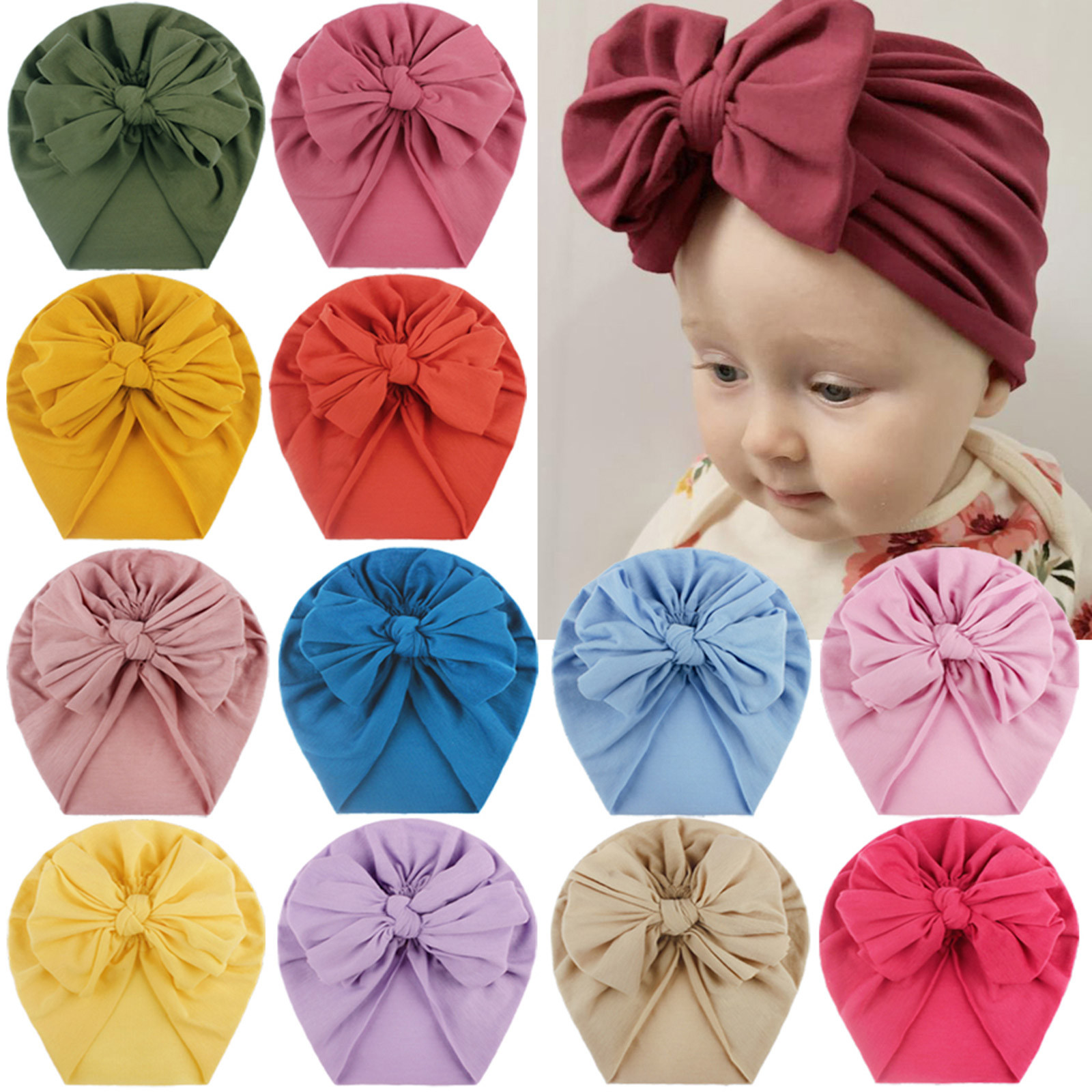 Для маленьких детей; Повязка на голову для маленьких мальчиков и девочек, однотонная, с бантом узлом шапка головной убор аксессуары для ново...