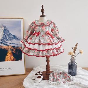 2020 новое платье в стиле ретро в испанском стиле Одежда для маленьких девочек платье с длинными рукавами и бантом для девочек, милое платье п...