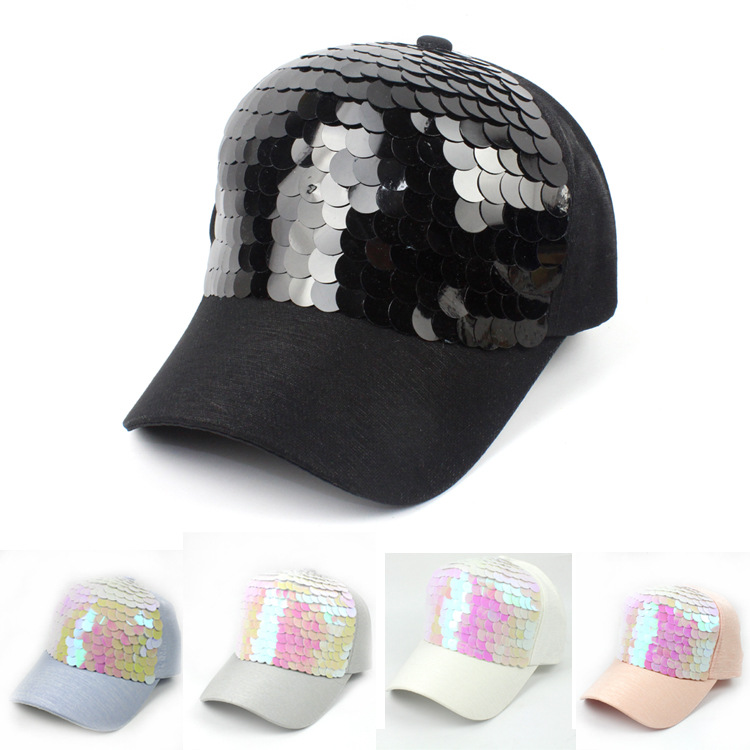 Image 2 - New Fashion black Snapback Baseball Cap cotton Gorras Caps Hats Woman Sequin Hip Hop Hats For Men Women-in Men's Baseball Caps from Apparel Accessories on AliExpress