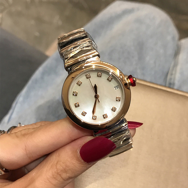 Hot Brand Fashion Luxury Watch Green Dial Mother of Pearls Dial Automatiic Watch Snake Strap Rose Gold Color Stainless Steel 6