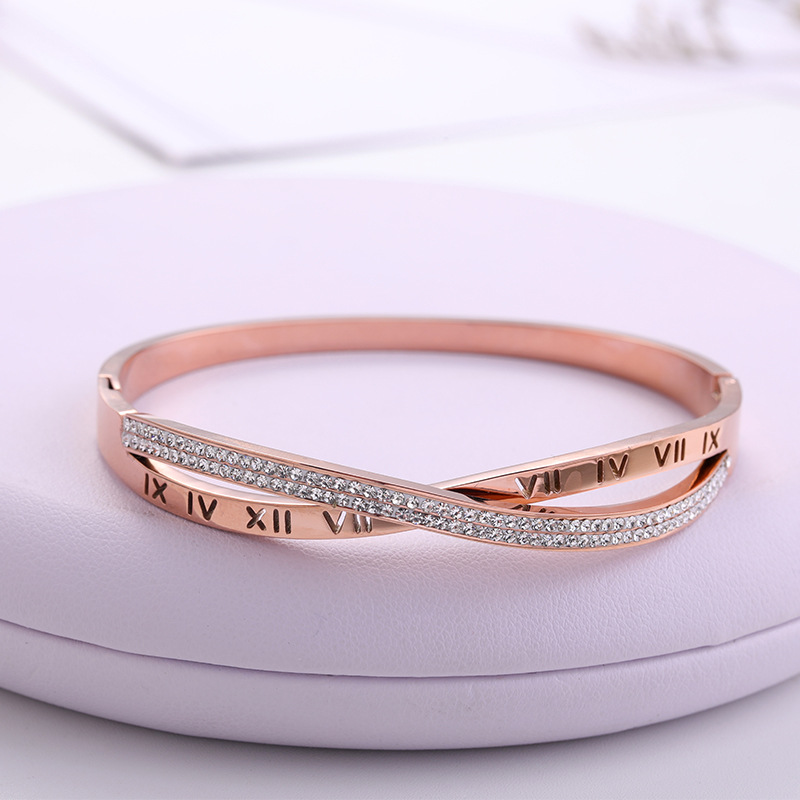 New Fashion Classic Women's Bracelet Silver Color Gold Bangles for Women Rose Gold Rhinestone Bracelet Cuff Trendy Jewelry Gifts(China)
