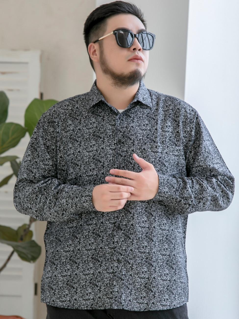 Brand Shirt Flower-Print Long-Sleeve Youth 10XL 7XL Large-Size 8XL Casual Men's Fashion