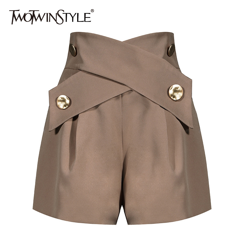TWOTWINSTYLE Elegant Patchwork Women Shorts High Waist Asymmteircal Hit Color Loose Short Pants For Female Clothes Fashion Tide