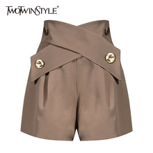Women Shorts TWOTWINSTYLE High-Waist Fashion Patchwork Elegant Female Color Loose
