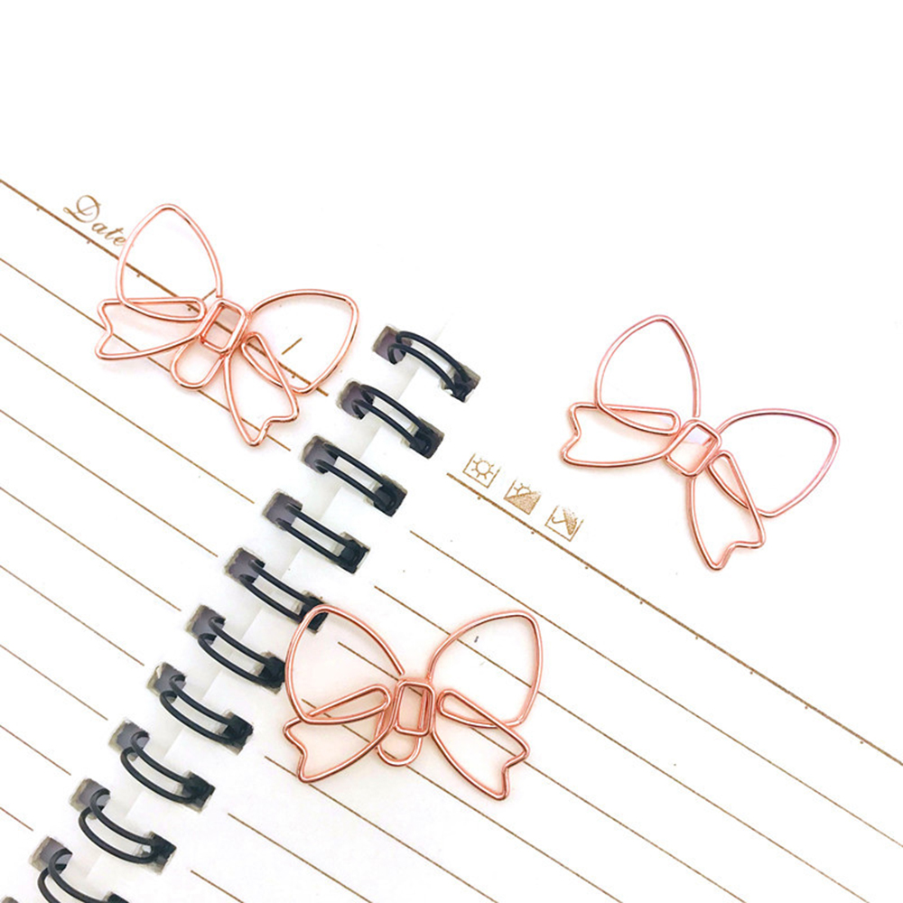 5Pcs Rosegold Paper Clips Kawaii Stationery Metal Bookmark Binder Clips Photos School Office Supplies