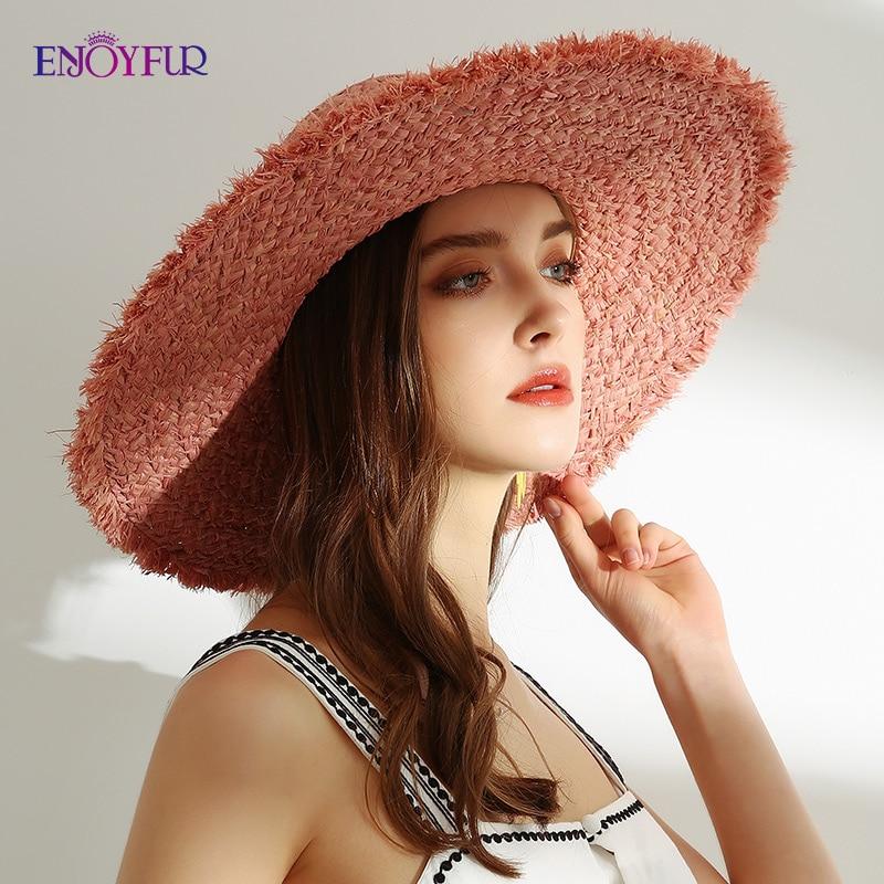 ENJOYFUR Women Straw beach hats Wide brim summer straw sun hats female girls fashion UV sun protection travel cap