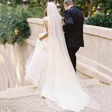 Tule puro branco marfim casamento véus de noiva catedral para a noiva 11059-2