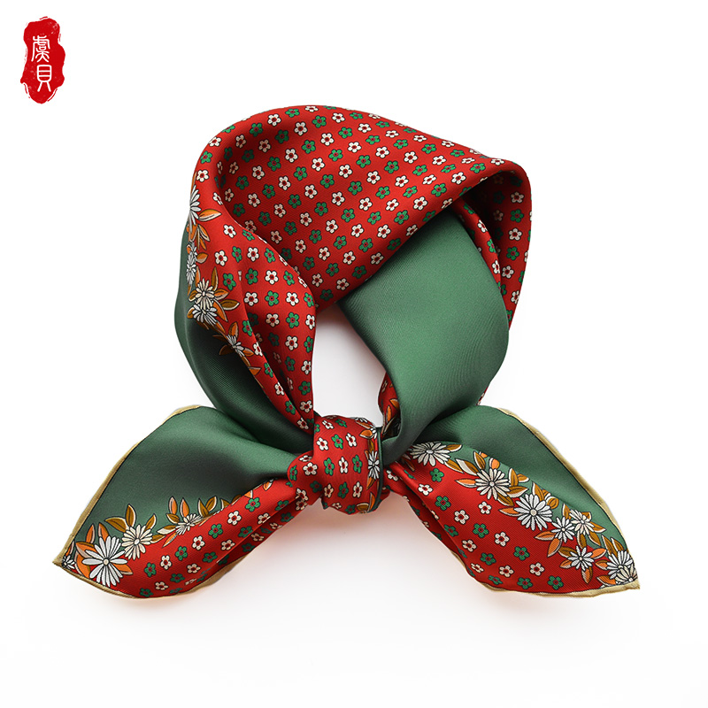 Retro red green small scarf women with flowers 100% real silk twill hair band 50cm square scarves spring summer headscarf lady