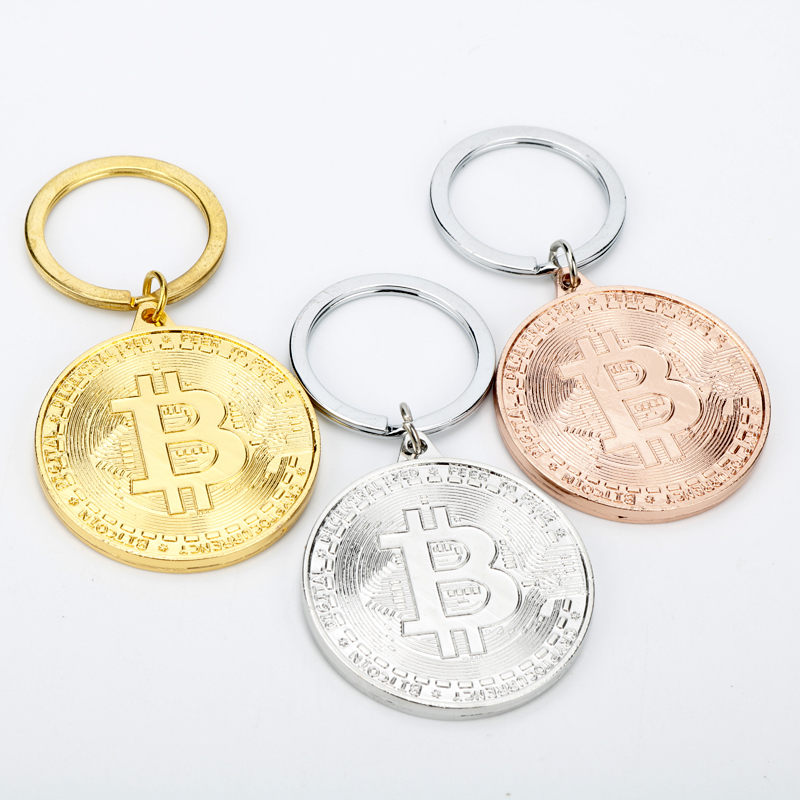 2020 Hot Bitcoin Keychain Coin Key Rings Jewlery Commemorative Collectors Friends Gifts Key Accessories Bag Pendant Key Chains 1